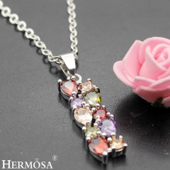 Hermosa® 925 Sterling Silver Amethyst Garnet Morganite Peridot Necklace Pendants silver 1 1/2