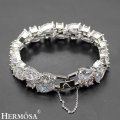 Women Wedding Prom Fire White Topaz 925 Sterling Silver Luxury Gemstone Bracelet silver size 7