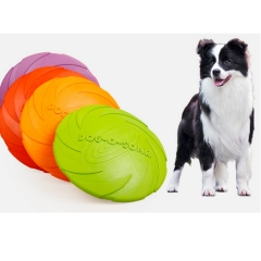 Soft Eco-friendly Natural Rubber Pet Dog Toy Frisbee Flying Disc Training Toy 22cm/18cm/15cm green L