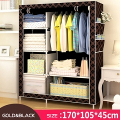 DIY Wardrobe  Portable Storage Cabinet coffee brown