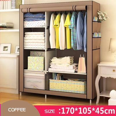 DIY Wardrobe  Portable Storage Cabinet coffee brown