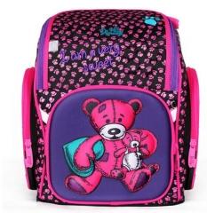 DELUNE Children Cartoon 3D Bear Flower Racing Car Pattern Girls Boys School Bags School Backpacks 6-112