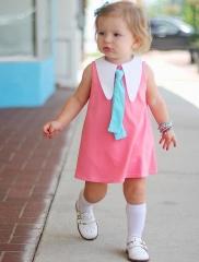 Baby Girl  DressPrincess Bow Toddler Girls Dresses Summer  Sleeveless Baby Kids Cotton Clothing Pink 70cm