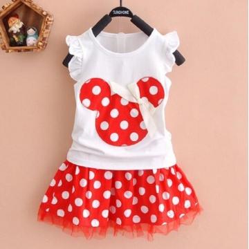 Girls Princess Clothes CartoonyMini Dress ball gown dress lace+cotton material Shirt + skirt 1 130cm