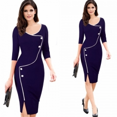 Three-Quarter Sleeve Slit Office Dress bluish violet s