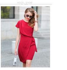 Summer pure color belt pack hip skirt banquet light dress 100% silk silk dress red s