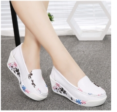 Hot Sale Genuine Leather Platform Shoes Wedges White Lady casual Shoes Swing mother shoes size 35-40 white 35
