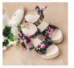 Women Sandals Summer Wedges Women's Sandals Platform Lace Belt Bow Flip Flops open toe high-heeled Black Floral 35