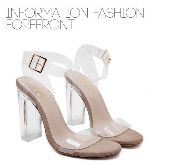 a76869b870 Sexy Shoes Gladiator Women High Heels PVC Clear Crystal Classic Buckle  Strap Fashion beige 40