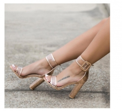 Newest Women Sandals Thick High Heels Shoes Sexy Transparent Ankle Sandals  for Ladies gold 37