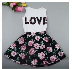Girls LOVE letter girls sweet party Princess flower vest +sleeveless dress  Children's clothing sets as picture 100cm