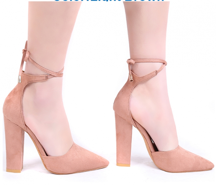 95465d0ba Pointed Strappy Pumps Sexy Retro High Thick Heels Shoes 2017 New Woman Shoes  Female Lace Up