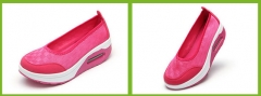 Air cushion shoes shaking shoes explosion section net casual nurse ladies sports shoes rose red 35