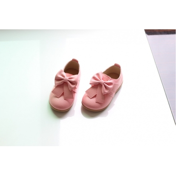 Casual Children Shoes Candy Color Girls Shoes New Autumn Bow Fahion  Kids Soft Single Shoes pink 5.5