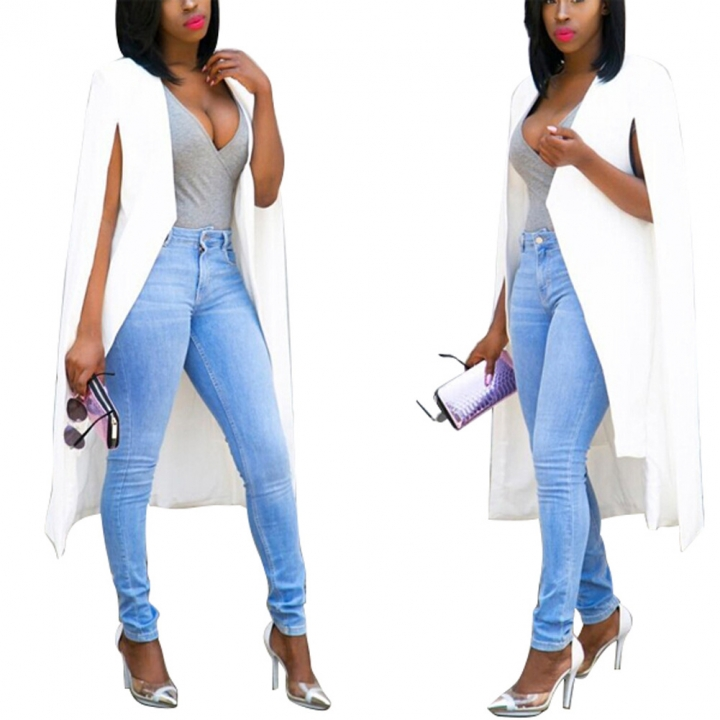 New personality burst section fashion women's long black and white suit jacket white S
