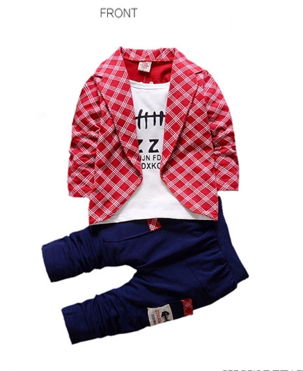 Boys Formal Clothing Kids Attire For Boy Clothes Plaid Suit In September Toddler Suit Set red 18M