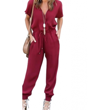 Sexy Women Short sleeve Pockets  Woman Jumpsuit 2017Summer V-Neck Tied Waist Party Playsuit wine red l
