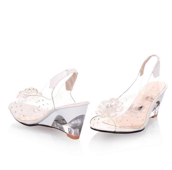 948b76694653 Original Intention Women Sandals Transparent Flowers Wedges Sandals white  4  Product No  576596. Item specifics  Brand