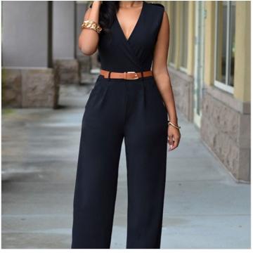 Women Sleeveless V-Neck High Waist Wide Leg Romper Pants Jumpsuit with Belt black s