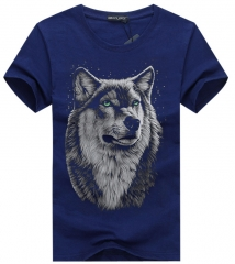 cotton 3d t shirt men 2016 summer new arrvial 3D funny wolf man's T-shirt extended plus size 4XL blue S