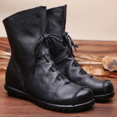 Vintage Genuine Leather Shoes Female Spring Autumn Platform Ankle Boots Woman Lace Up Casual Boots black 1 US5