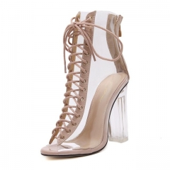 New Summer Sandals Sexy Gladiator Sandals Cross Strappy Peep Toe Shoes Clear Chunky heels khaki US9