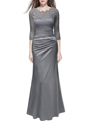 Women's Retro Floral Lace Vintage 2/3 Sleeve Slim Ruched Wedding Maxi Dress gray S