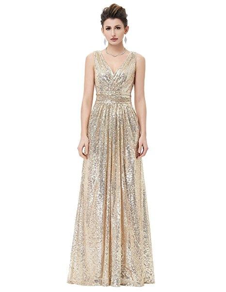 0ae1871f4d8 Women Sequined Bridesmaid Dress Sleeveless Prom Banquet Evening Dresses  light gold 14