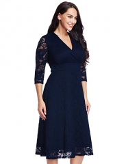 Women's Plus Size Lace Bridal Formal Skater Dress 12W-32W navy 4