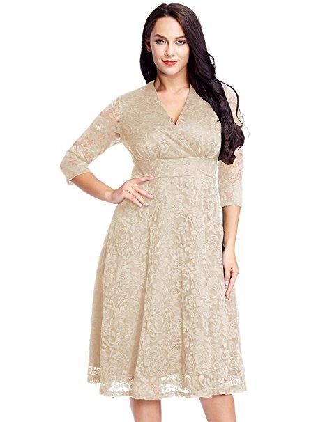 44a6110cdaa Women s Plus Size Lace Bridal Formal Skater Dress 12W-32W beige 30 plus