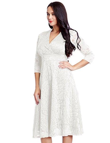 2763d805573 Kilimall  Women s Plus Size Lace Bridal Formal Skater Dress 12W-32W ...