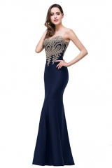 Mermaid Evening Dress for Women Formal Long Prom Dress navy 2