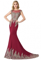 Women's Embroidery Lace Long Mermaid Formal Evening Prom Dresses burgundy 2