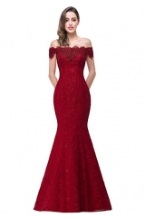 Off Shoulder Lace Long Bridesmaid Maxi Prom Dress for Wedding #01 2