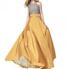 Satin Prom Dress Halter Beaded Sequins Backless Long Evening Dresses #01 2