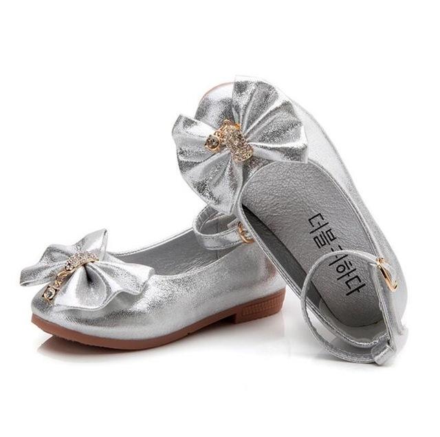 Princess Band Soft Sole PU Leather Fashion Bowknot Rhinestone Flower Girls  Dress Shoes silver 11  Product No  622595. Item specifics  Brand  f22fe2f96050