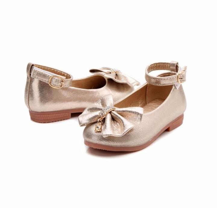 Princess Band Soft Sole PU Leather Fashion Bowknot Rhinestone Flower Girls  Dress Shoes gold 6 6feda9606683