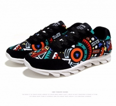 Casual shoes men canvas shoes fashion breathable geometry shoes men black US6