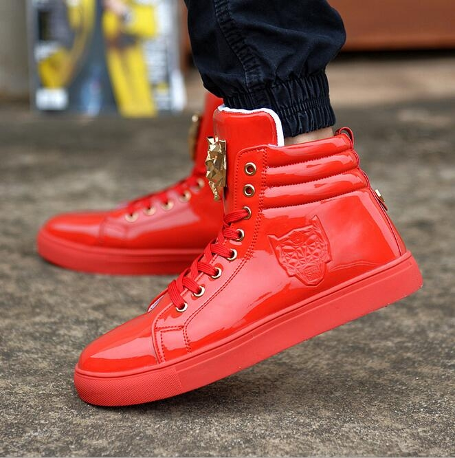 78057d712b64b 2017 New Fashion High Top Casual Shoes For Men PU Leather Lace Up Red White  Black Color Mens red US8  Product No  633459. Item specifics  Brand