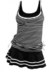 Women's Tankini Striped Vintage Swim Dress black S