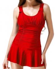 Women's Solid Swimwear Convertible Tummy-Control Swimdress red M