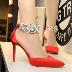 New Summer Shoes Woman  High Heels Crystal Buckle Pumps Silver Closed Toe Pumps red 34