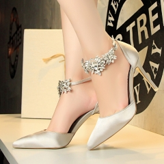 New Summer Shoes Woman  High Heels Crystal Buckle Pumps Silver Closed Toe Pumps silver 36
