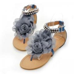 Women Flower Shoes Beading Ankle Strap Flat Sandals Ladies Open Toe Leisure Beach Footwear blue US4