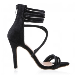 2017 Sexy High Heels Sandals Green Velvet Women Sandals Gladiator Summer Party Shoes black US4