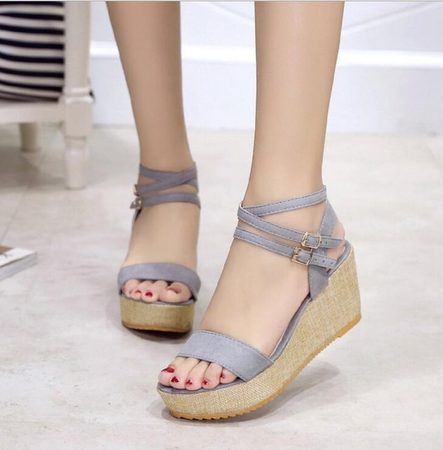819d6fa0731 new fashion Summer Korean wedge fish head women Waterproof Taiwan sandals  platform sandals gray US6