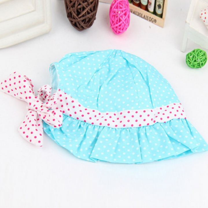 319ffa82f1d Kids Toddlers Baby Girls Sun Hat Polka Dot Flower Bucket Cap Bowknot Pearl  Hat blue