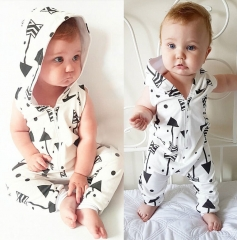 Infant Baby Boy Clothing Hooded Sleeveless Romper Arrow Zipper Jumpsuit Outfits Baby Boys Clothes 01 4-6M