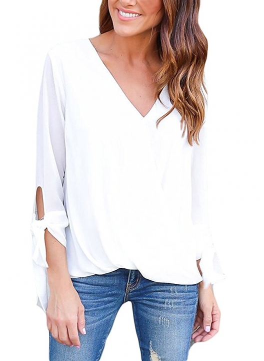 c88305936c0 Womens Casual Summer Ladies Chiffon Ruffle V Neck Blouses and Tops Shirts  white S