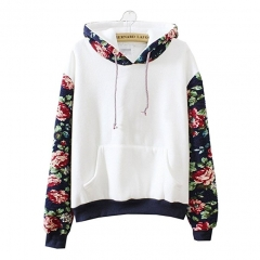 Cute Hoodies Sweater Pullover Warm Fleece Lined Flowers Sleeve white one size